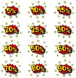 Percent comic labels. Vector illustration of some percent comic labels Royalty Free Stock Images
