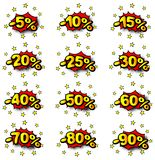 Percent comic labels Royalty Free Stock Image