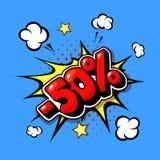 50 percent comic text Sale web banner. Pop art discount promotion banner. 50 percent comic text Sale web banner. Pop art cartoon discount promotion banner vector illustration