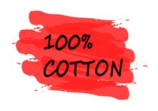 100 percent cotton banner. 100 percent cotton red banner stock illustration
