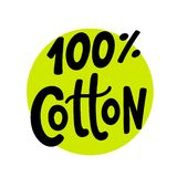 100 percent cotton. Vector text label illustration. Hand drawn lettering. 100 percent cotton logo. Hand drawn lettering on green circle. Vector text round label stock illustration