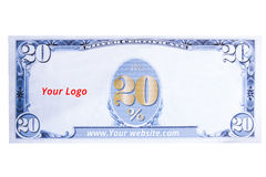 20 Percent Coupon sale blank dollar style. 20 Percent coupon sale blank money  style Royalty Free Stock Photos
