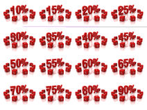 Percent cubes. Discount cubes on a white background Royalty Free Stock Photo