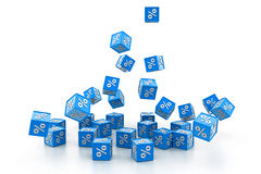 Percent cubes. 3d illustration of percent cubes Stock Photos