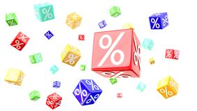 Percent cubes Stock Photo