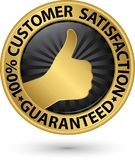 100 percent customer satisfaction guaranteed golden sign with ri. Bbon, vector illustration Stock Image