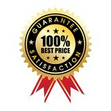 100 percent customer satisfaction guaranteed. Golden sign with ribbon royalty free illustration