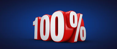 100 percent. 3D illustration over blue background Royalty Free Stock Photo