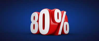 80 percent. 3D illustration over blue background Stock Illustration