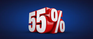55 percent. 3D illustration over blue background Stock Photos