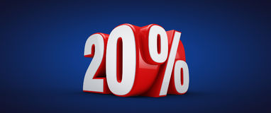 20 percent. 3D illustration over blue background vector illustration