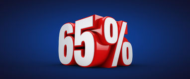 65 percent. 3D illustration over blue background Royalty Free Stock Photo