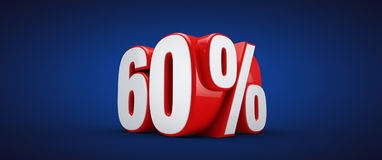 60 percent. 3D illustration over blue background Stock Photography