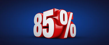 85 percent. 3D illustration over blue background Stock Images