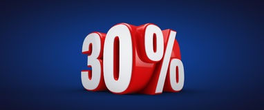 30 percent. 3D illustration over blue background Stock Images