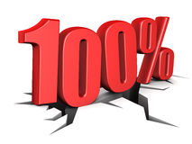 100 percent. 3d illustration of 100 percent sign over white Royalty Free Stock Photo