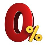 0 percent 3D.with Clipping Path stock image