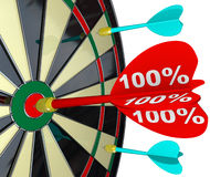 100 Percent Dart Hitting Dartboard Perfect Score. The number 100 percent on a red dart hitting the bulls-eye target center of a dartboard to symbolize a perfect Stock Images