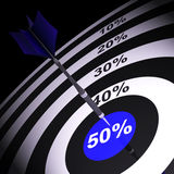 50Percent On Dartboard Showing Money Savings. Or Price Reductions Royalty Free Stock Photo
