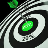 25 Percent On Dartboard Showing Twenty-Five Percent Off. Or Price Reductions Stock Image