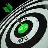 50Percent On Dartboard Shows Bonus Prices. Or Promotions royalty free illustration