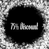 75 PERCENT DISCOUNT on black background with different white stars frame. Illustration Royalty Free Stock Photography