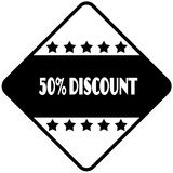 50 PERCENT DISCOUNT on black diamond shaped sticker label. Royalty Free Stock Images