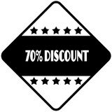 70 PERCENT DISCOUNT on black diamond shaped sticker label. Illustration Stock Photos