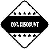 60 PERCENT DISCOUNT on black diamond shaped sticker label. Stock Photos