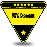 90 PERCENT DISCOUNT on black and yellow triangle with shadow. Illustration Royalty Free Stock Photos