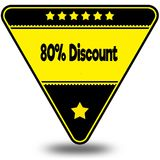 80 PERCENT DISCOUNT on black and yellow triangle with shadow. Illustration Royalty Free Stock Image