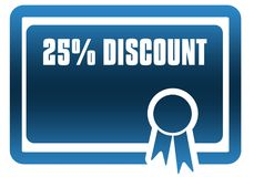 25 PERCENT DISCOUNT blue certificate. Illustration graphic image concept Royalty Free Stock Photos