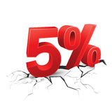 5 percent discount breaks ground on white background.  Stock Photography