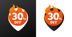 30 percent discount burning pins. Black and white variations. Isolated vector objects. Stock Photo