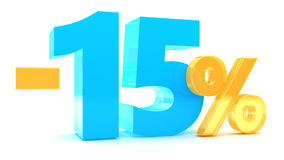 15 percent discount. 3d illustration of 15 percent discount Stock Images