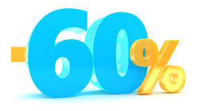 60 percent discount. 3d illustration of 60 percent discount Stock Image