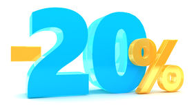 20 percent discount. 3d illustration of 20 percent background Stock Image