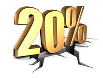 20 percent discount. 3d illustration of 20 percent doscount sign Stock Image