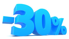 30 percent discount. 3d illustration of 30 percent discount sign, over white background Stock Photo