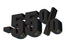 55 percent discount. 3d rendered black text isolated on white background Stock Illustration