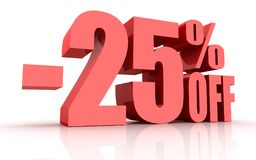 25 Percent Discount. This is a 3d rendered computer generated image. Isolated on white Royalty Free Stock Photo