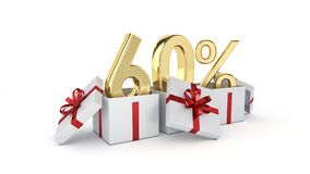 60 percent discount. 3d rendering Royalty Free Stock Image