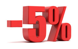 5 percent discount 3d text. 5 percent discount  on white background Royalty Free Stock Image