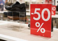 50 percent discount. Discounts in the shopping center. 50 percent discount Royalty Free Stock Images