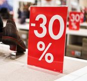 30 percent discount. Discounts in the shopping center. 30 percent discount Stock Images