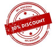 10 PERCENT DISCOUNT distressed red stamp. Illustration graphic concept Stock Images