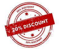 20 PERCENT DISCOUNT distressed red stamp. Illustration graphic concept vector illustration