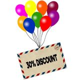 30 PERCENT DISCOUNT on envelope pulled by coloured balloons isolated on white background. Illustration Royalty Free Stock Image