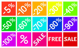 Percent Discount in Flat Design Square Icons. Special Square Icons in Flat Design for Dicounts and Sale Occasions Stock Photo