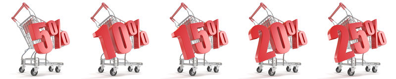5%, 10%, 15%, 20%, 25%  percent discount in front of shopping cart. Sale concept. 3D. Render illustration  on white background Stock Photography